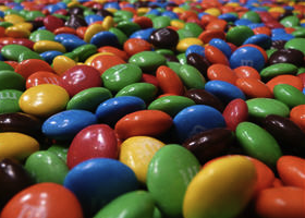lots of M&M candies